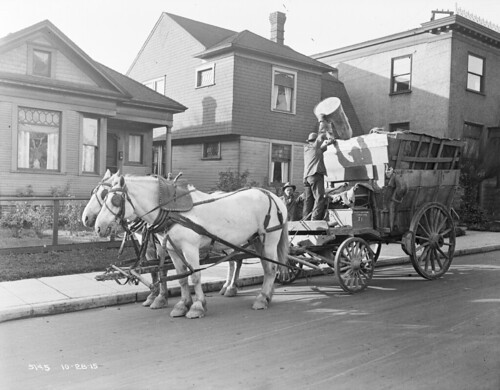 Horse-drawn garbage wagon, 1915 | by Seattle Municipal Archives