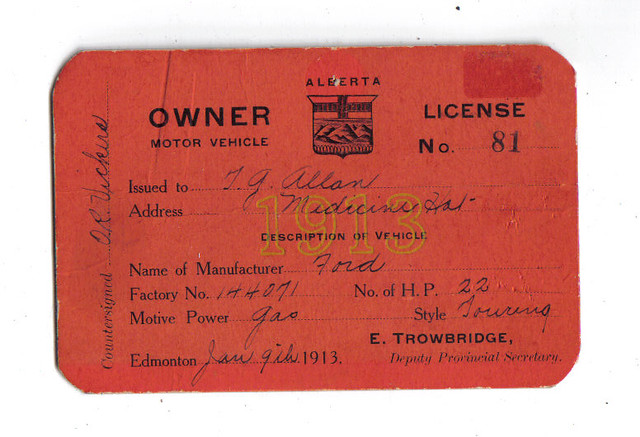 Alberta 1913 motor vehicle registration certificate for li for Alberta motor vehicle registration