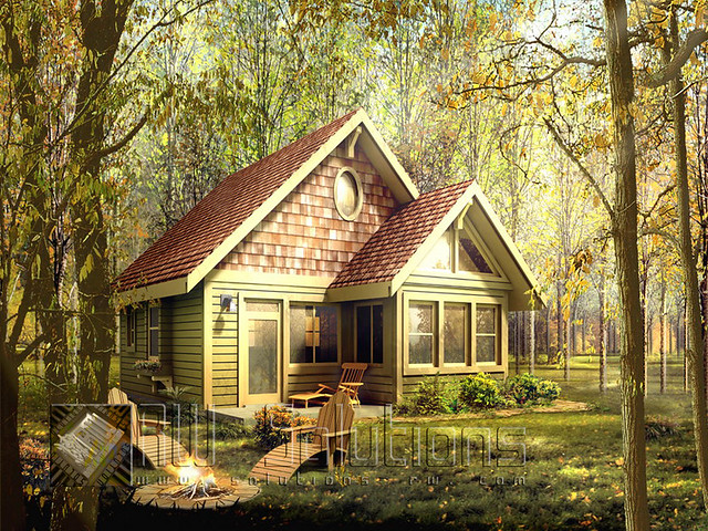 Nice warm little house in woods the title tells for Modern homes in the woods for sale
