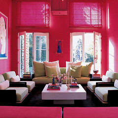 hot pink white living room | by The Sugar Monster