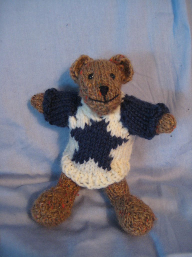 Small Hand-Knit Teddy Bear I hand-knit this teddy bear fro? Flickr