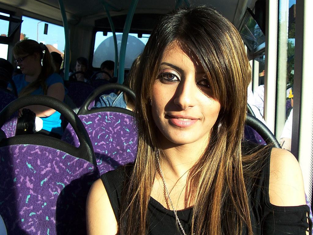 Asian girl on a bus