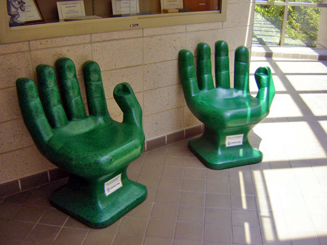 Green hand chairs recycled plastic pet bottles i want on flickr Furniture made from recycled plastic