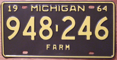 MICHIGAN 1964 FARM TRUCK plate | by woody1778a