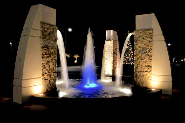 Man Made Waterfall Fountain In Front Of Hubbell Lighting