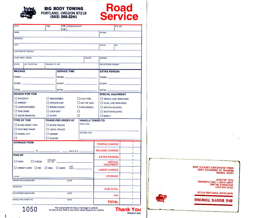 Big Body Towing Invoice And Business Card View All Sizes