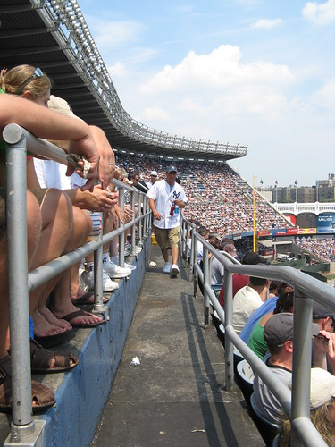 Yankee Stadium, 7/19/08: good look at the width, or lack of it, of the aisle on the Tier level | by Gary Dunaier