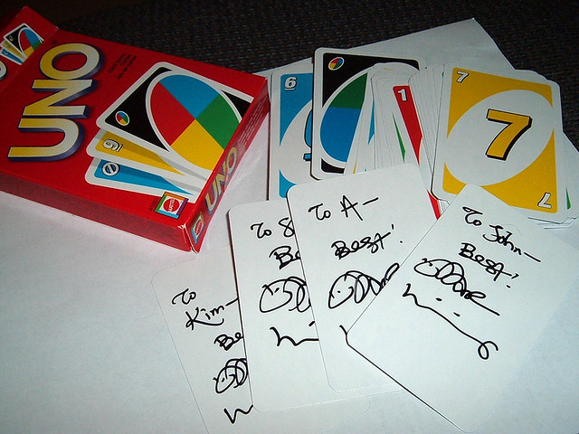 Uno cards signed by Dar Williams   So we got to the Dar ...