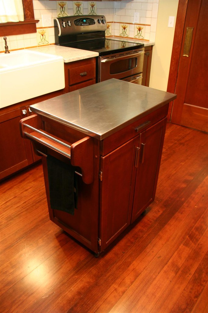 Kitchen Cart With Wood Top Cottage Oak Natural
