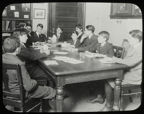 Work with schools, city history clubs : history club meeting... | by New York Public Library