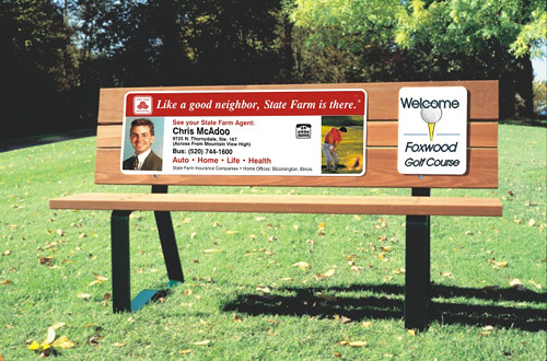 Bench redwood put your ad on a bench craft golf bench for Bench craft company fraudsters