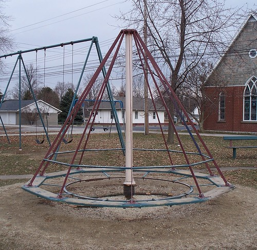 Oh Mendon Playground Cone Shaped Suspended Merry Go