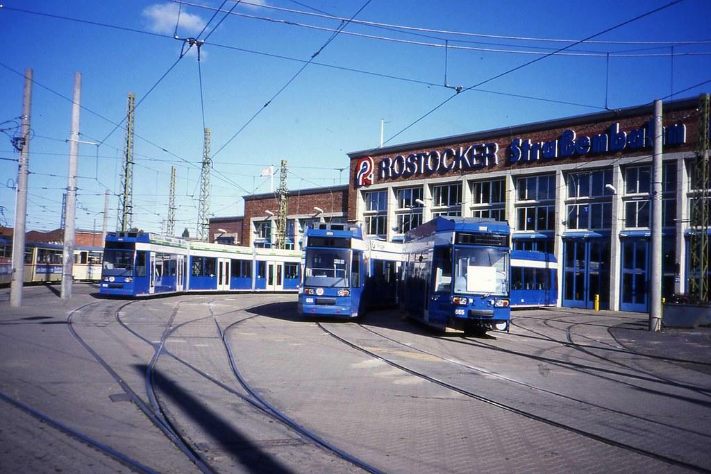 Rostock Tram Depot Strassenbahn Betriebshof October 1994