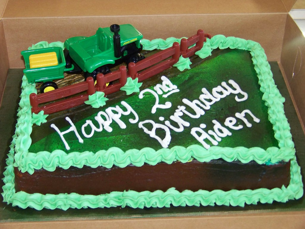 Images Of Tractor Birthday Cake : Tractor Birthday Cake A 1/2 sheet white cake decorated ...