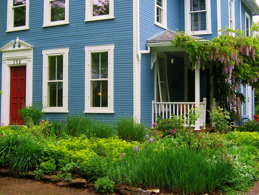 Blue House And Springtime Garden In Yellow Springs Ohio