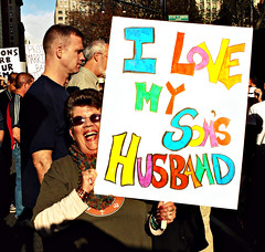 "NYC GAY RIGHTS PROTEST AGAINST PROP-8: ""Mother-in-law"" 