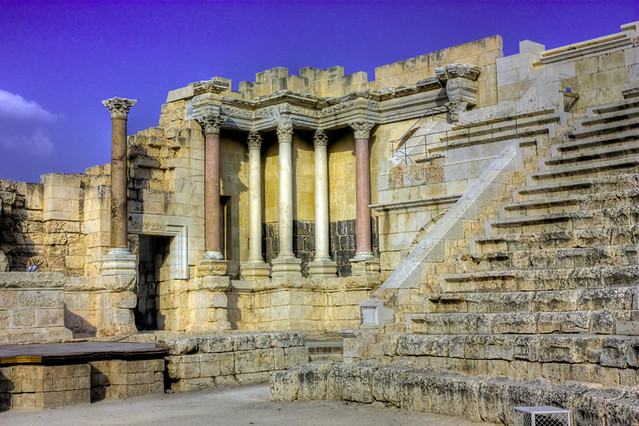 Beit Shean Israel  city pictures gallery : Ruins of an ancient theater in Beit Shean Scythopolis , Israel HDR ...
