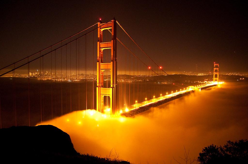 Golden gate bridge at night photo by dave schumaker for Golden night