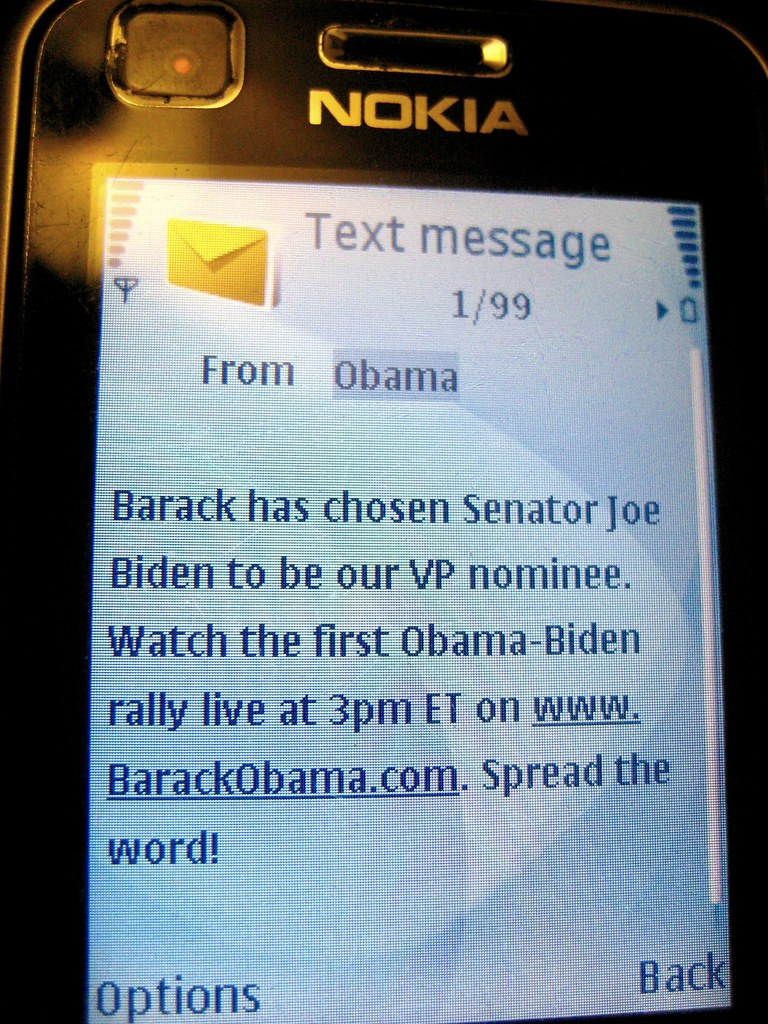 Obama Text Message Announcing Biden as his VP | It's 3AM ...