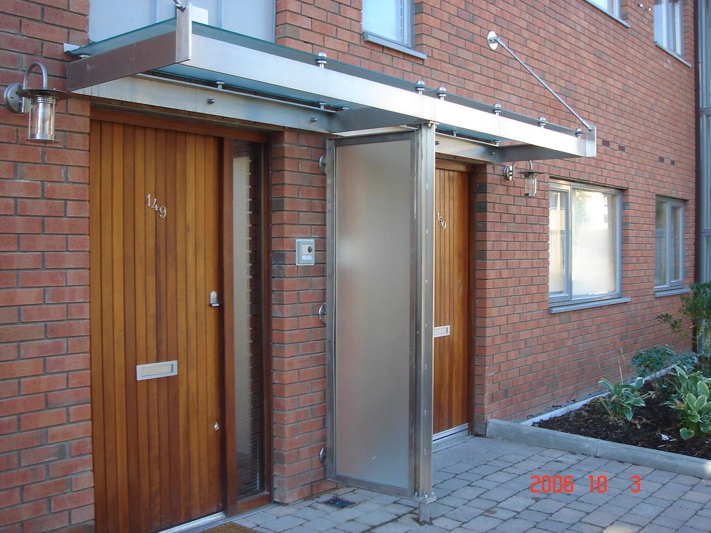 House Entrance Canopy Stainless Steel And Glass Entrance