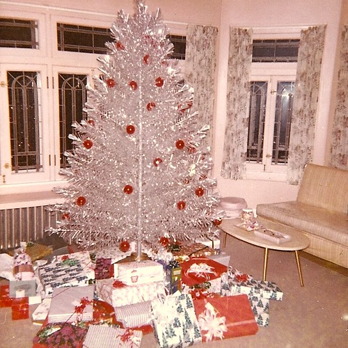 Silver Tinsel Christmas Tree With Color Wheel: 1963 - Interior Photo Of My Mom's