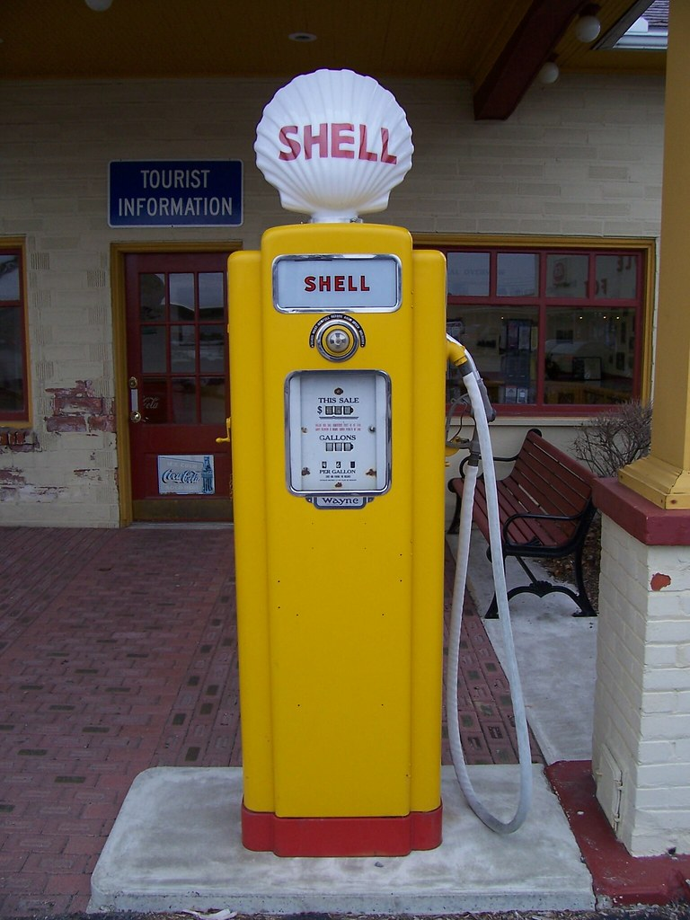 Old Shell Gasoline Pump A Sleek Old Shell Gas Pump