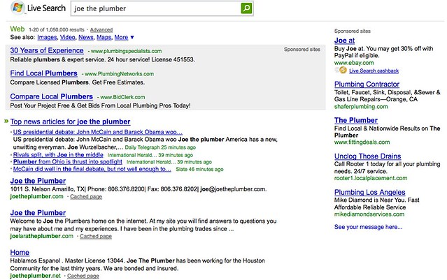 ... Joe The Plumber On Microsoft Live Search - by search-engine-land