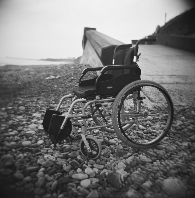wheelchair at seaham (holga)