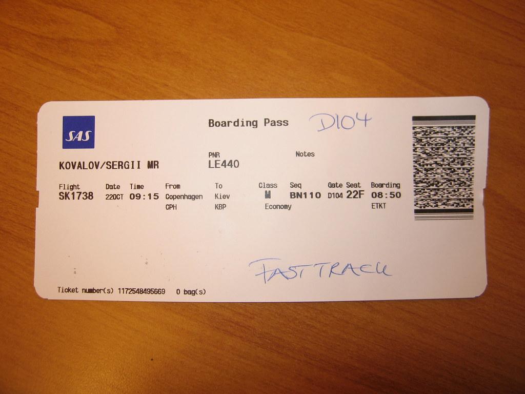 Wake Up >> Boarding Pass for the SAS Flight Copenhagen-Kiev   Wake up a…   Flickr