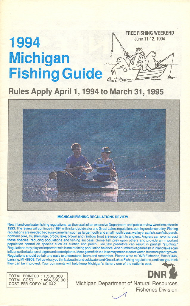 1994 michigan vintage fishing license law digest guide for Michigan fishing license online