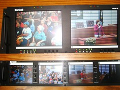 Our opening speeches were displayed on video monitors around the room.