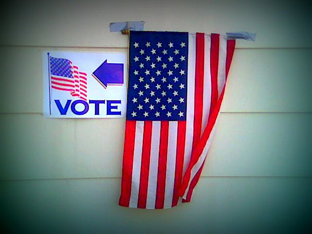 flag with I voted