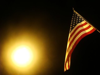 american flag with street light | by royal19