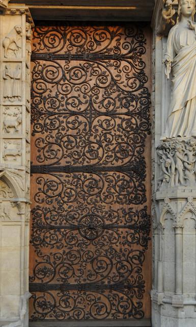 Door With Elaborate Hinges Notre Dame De Paris France
