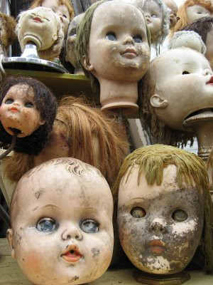 Strange Creepy Doll Heads A Booth At Trade Days In