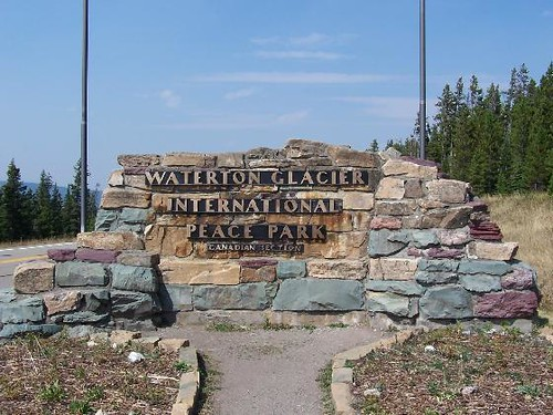 Waterton Glacier International Peace Park Sign Waterton