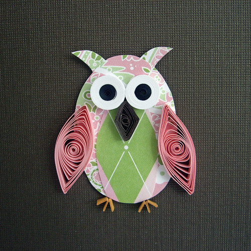 Close Up of owl on Quilled Card | by quillynilly