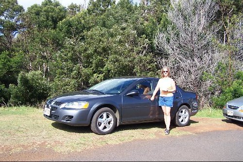 Karen With Our Rental Car On Kauai Although There Is