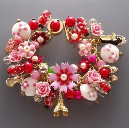 Pink And Nana Vintage Floral Charm Bracelet By Stella