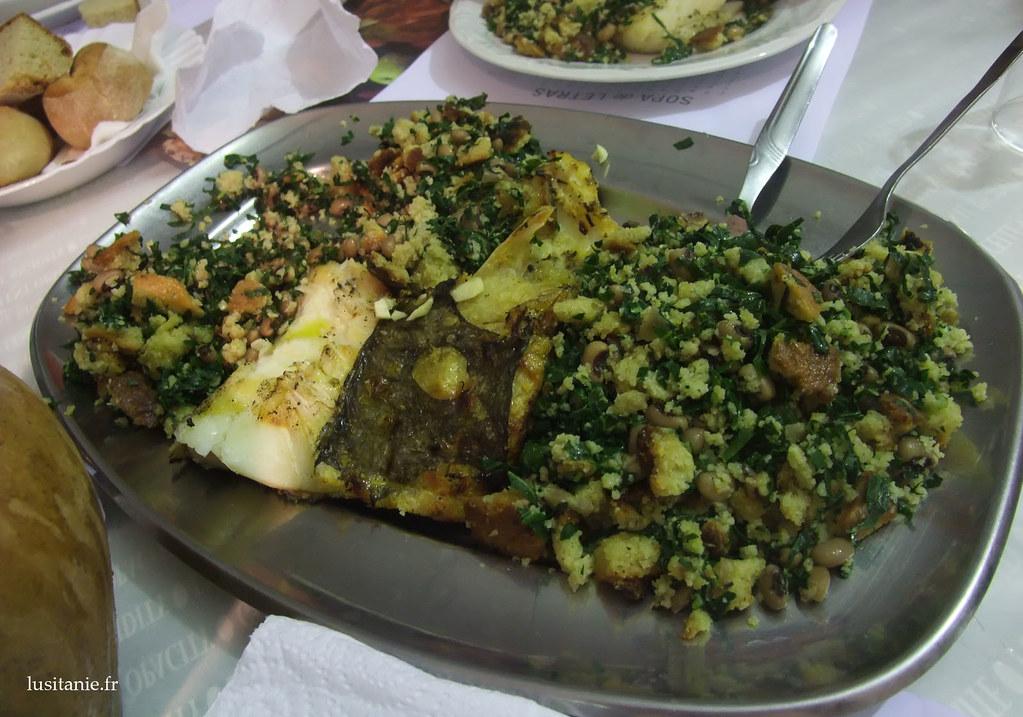 Bacalhau com migas : morue et pain de maïs