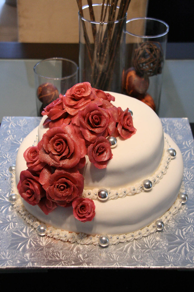 Small Wedding Cake With Marzipan Roses Monica Krasny Abramov Flickr