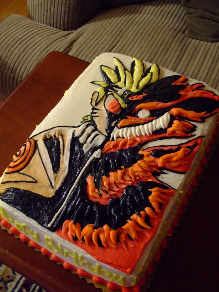 naruto and kyuubi anime cake