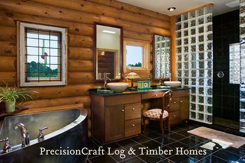 Custom Log Home Master Bathroom View By Precisioncraft