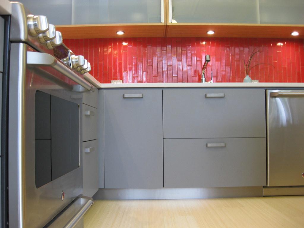 Backsplash Kitchen Red Black