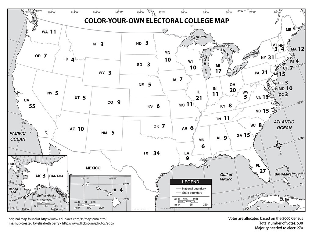It's just an image of Nerdy Electoral College Coloring Map