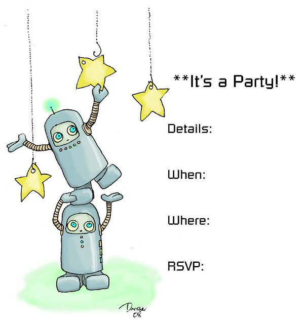 robot spaceman party invitation the robot birthday party i flickr