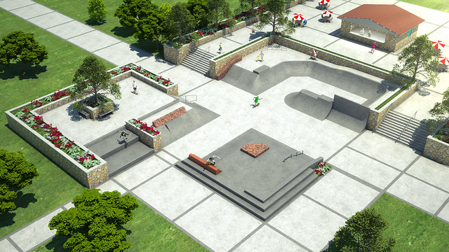 Concrete Skatepark Design With Street Plaza Designed And