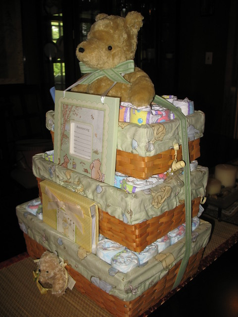 Classic Pooh Basket Diaper Cake By Swaddlestar