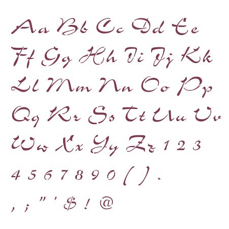 Cc0057 Airfoil Script Alphabet Letter Stencils Airfoil