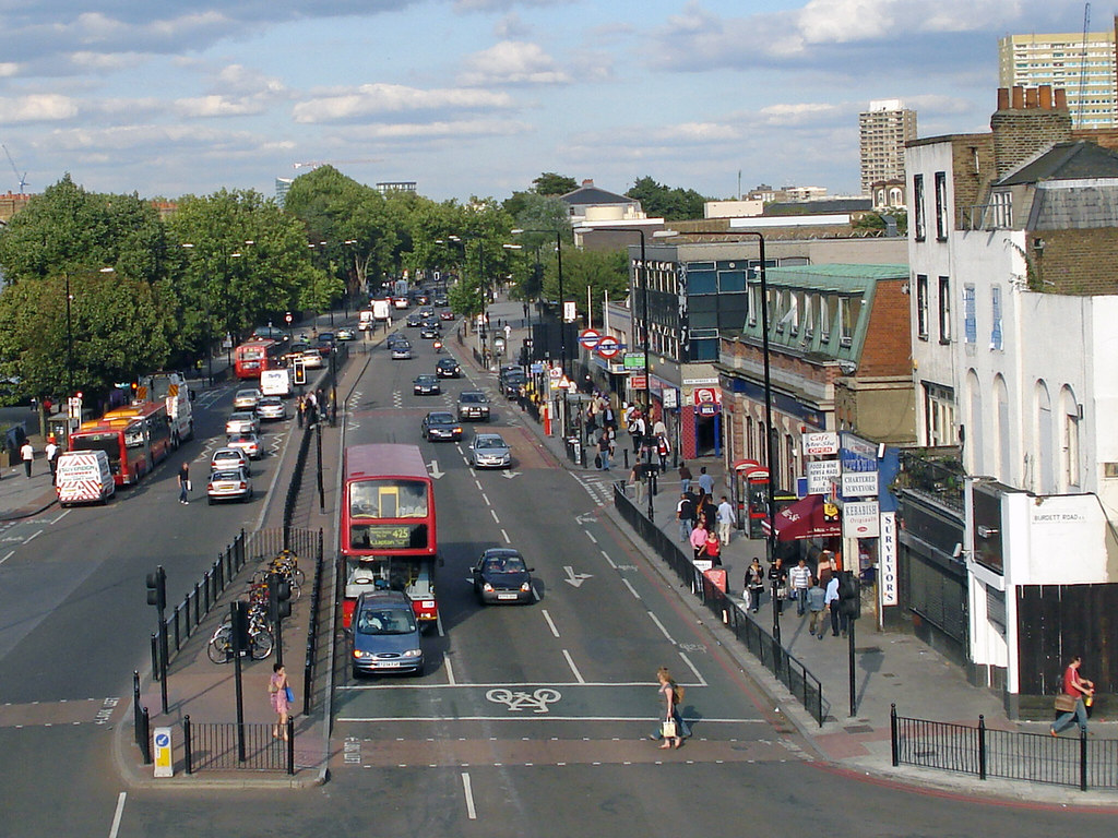 Mile End Road Looking East From The Top Of The Green